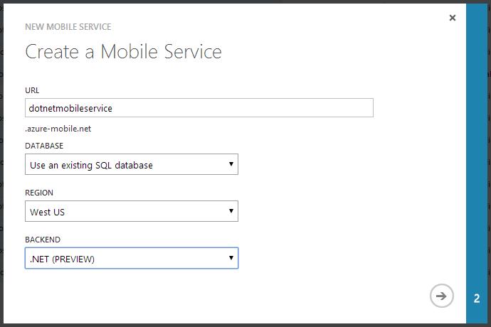 Erstellen eines Moblie-Services mit .NET