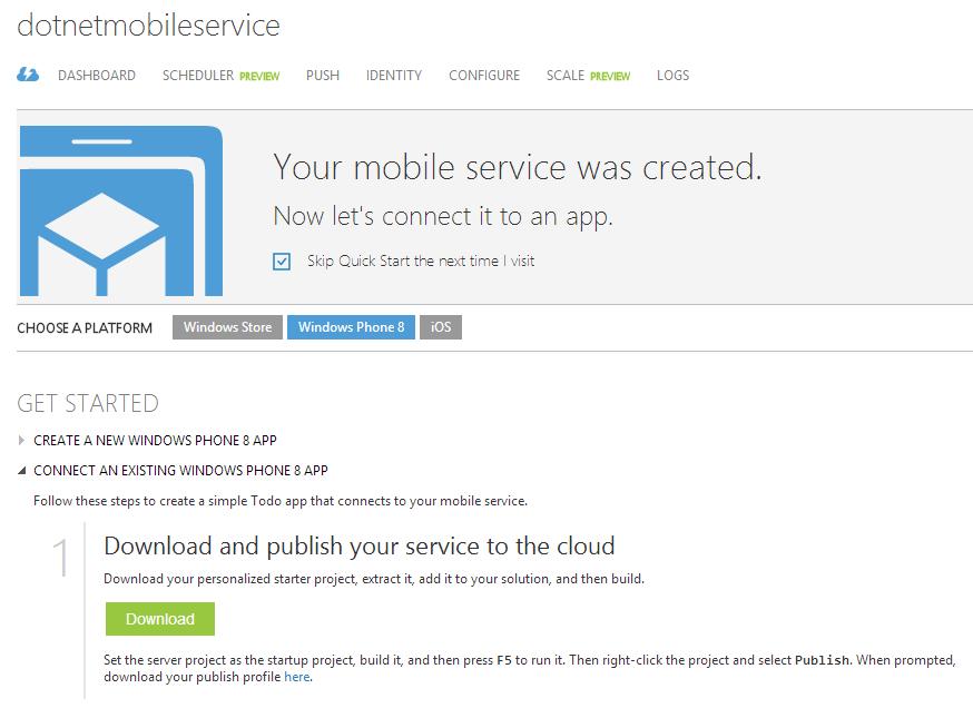 Download des Beispielprojekts fuer den .NET Mobile-Service