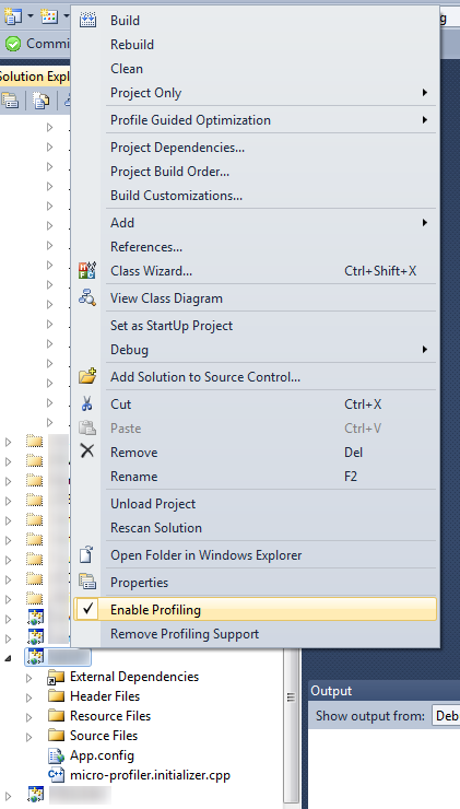 Visual Studio mit MicroProfiler Context Menu Erweiterung