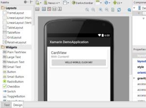 Screenshot von Android Studio mit geöffnetem Layout eines Xamarin Android Projektes