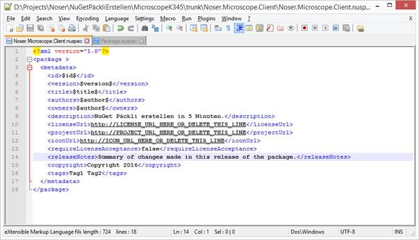 NuGet Paket erstellen in 5 Minuten: initial .nuspec-Vorlage
