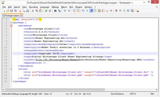 NuGet Paket erstellen in 5 Minuten: .nuspec-Datei manuell definieren 1. Kopiere nuget.exe im Solution Verzeichnis. 2. Öffne einen Command Prompt und navigiere zum Verzeichnis. 3. Eingeben: 'nuget spec' 4. Jetzt gibt es neu eine Vorlagedatei mit der Extension .nuspec 5. Vorlage anpassen: DLL(s) und Referenzen manuell definieren. 6. Eingeben: 'nuget pack [name].nuspec' um das Paket zu generieren. Die .nuspec-Datei manuell definiert: