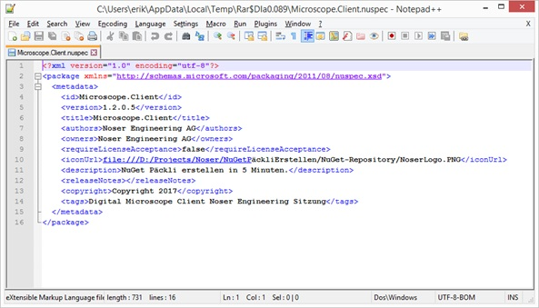 NuGet Paket erstellen in 5 Minuten: .nuspec-Datei Resultat