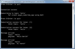 Console output MQTT subscriber