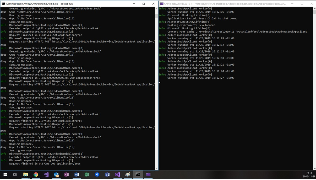 Noser Engineering AG - gRPC Tutorial - Output vom Server und Client