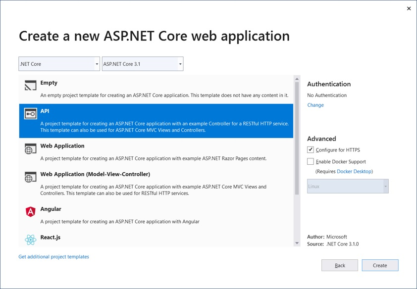 Noser Engineering AG - gRPC Tutorial - new ASP.NET Core web application