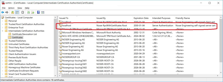 Server-Zertifikat in Intermediate Certification Authorities store