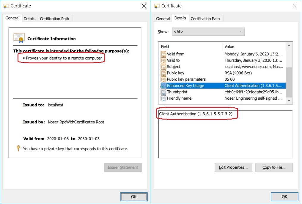 Enhanced Key Usage for Client Certificate
