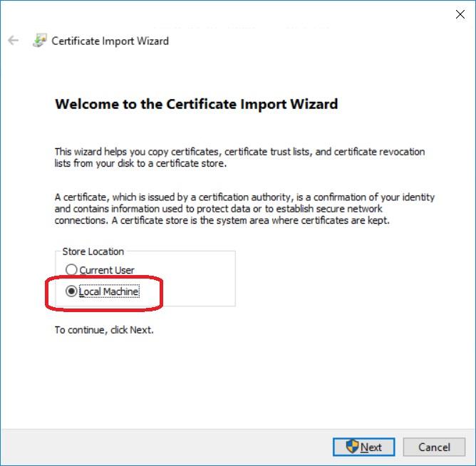 Importieren Zertifikat