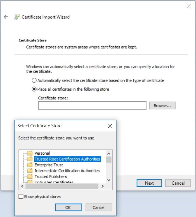 Importieren Zertifikat: Store auswählen