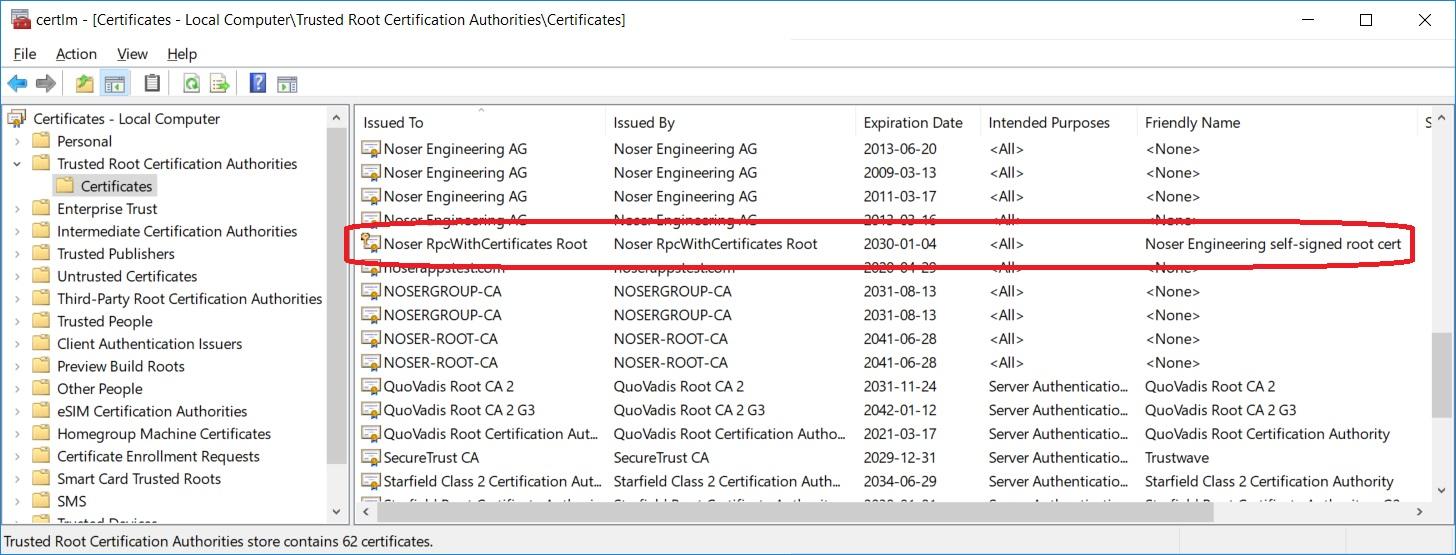 Root Zertifikat im Root Store