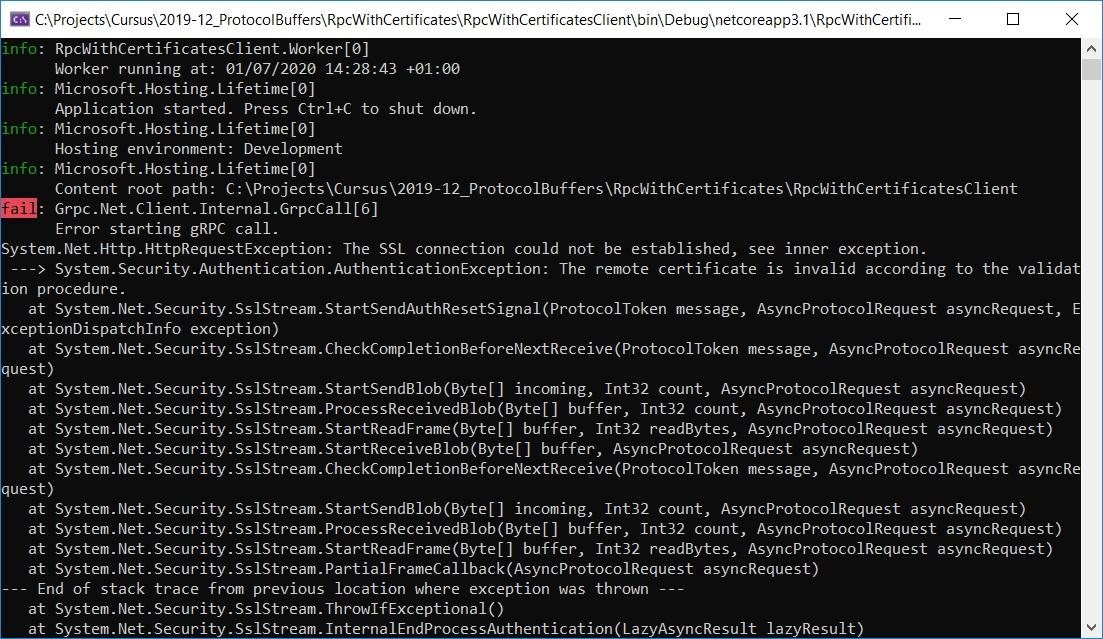Ausgabe vom gRPC Client wenn Zertifikat nich i.O. ist