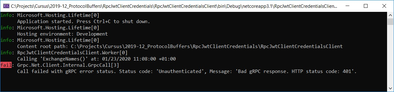 Noser Engineering AG - gRPC - Client Credential Flow - Unauthenticated Client