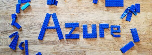 Das Wort Azure mit Legosteinen gebaut